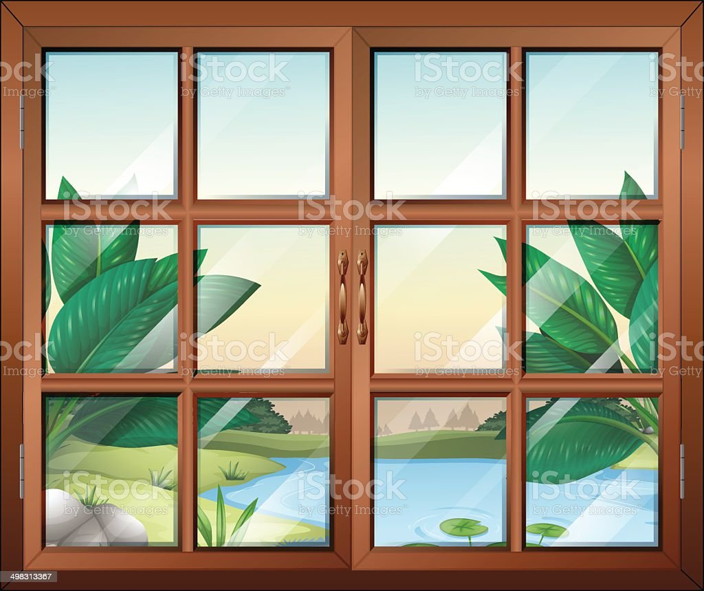 Closed window with a view of the pond vector art illustration
