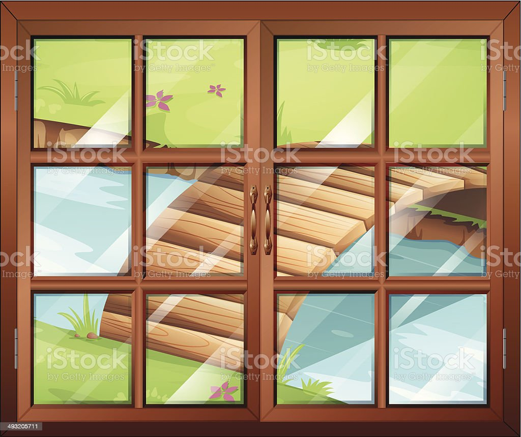 Closed window with a view of the river and bridge vector art illustration