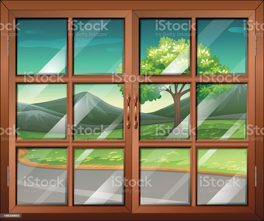 Closed window with a view of the road vector art illustration
