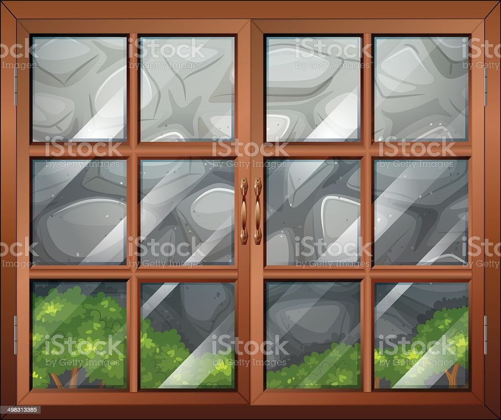 Closed window with a view of the stonewall vector art illustration