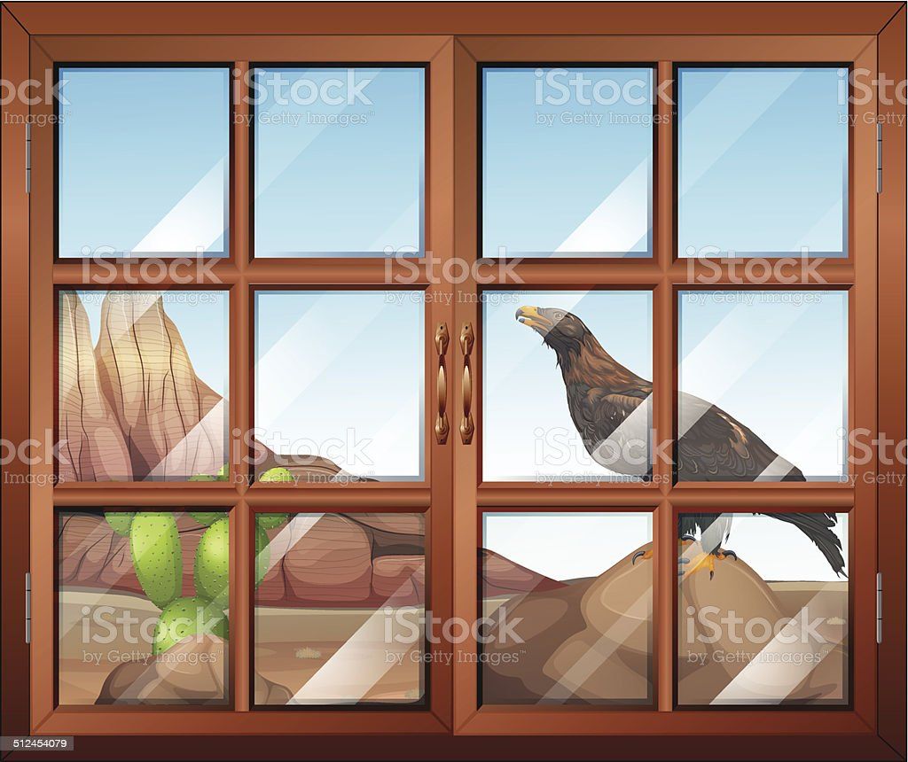 Closed window with view of the bird at the desert vector art illustration