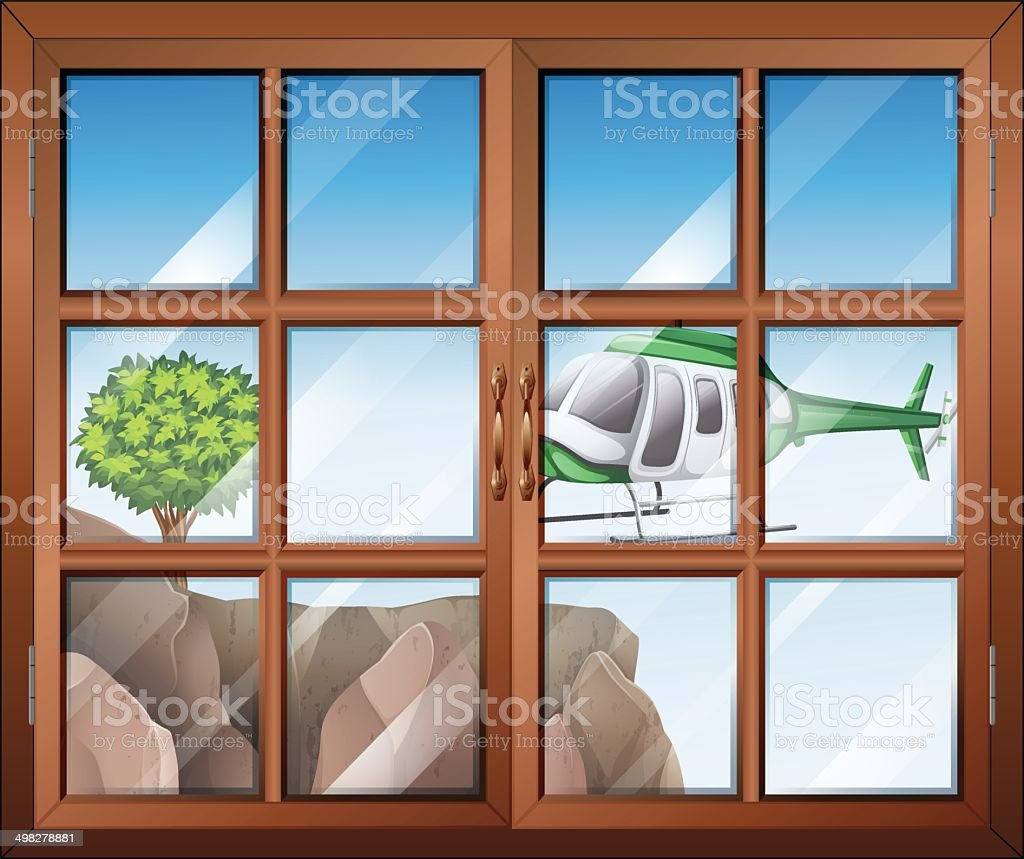 Closed window with view of the helicopter going to cliff vector art illustration