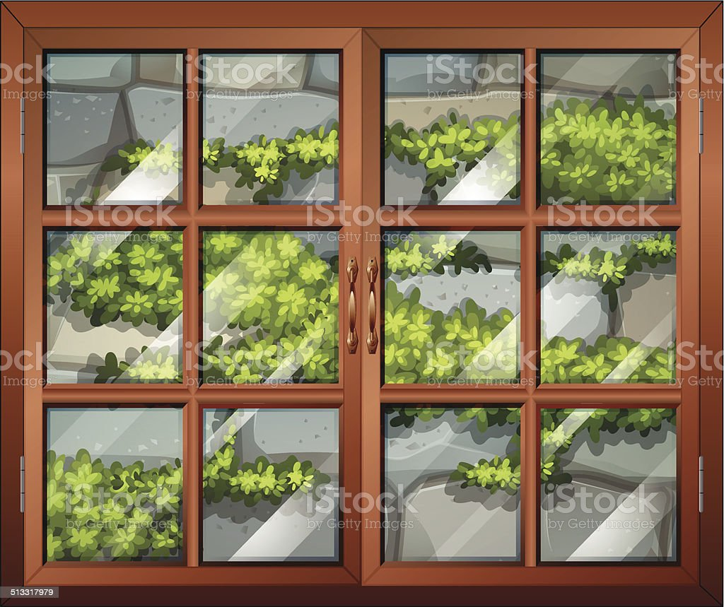Closed window with view of the plants and the stonewall vector art illustration