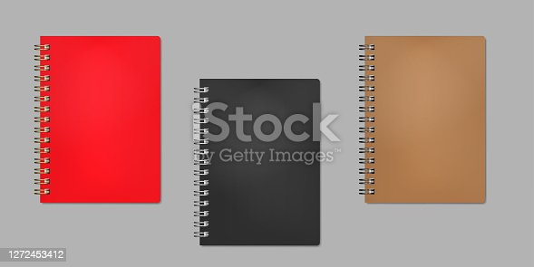 Closed wire bound notebook, realistic vector mock-up. Golden, silver, black metal spiral. Red, black, brown plastic cover. Color mockup set. Easy to recolor