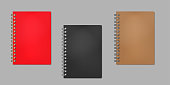 Closed wire bound notebook, realistic vector mock-up. Golden, silver, black metal spiral. Red, black, brown plastic cover. Color mockup set. Easy to recolor.