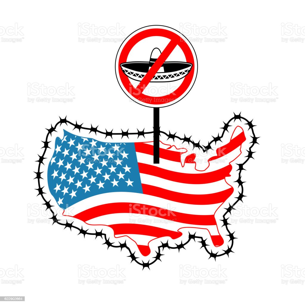 Us Closes Border With Mexico Stop Sombrero Map Of America ...