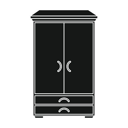 Closet icon in black style isolated on white background. Furniture and home interior symbol stock vector illustration.