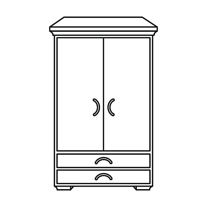 Closet icon in outline style isolated on white background. Furniture and home interior symbol stock vector illustration.