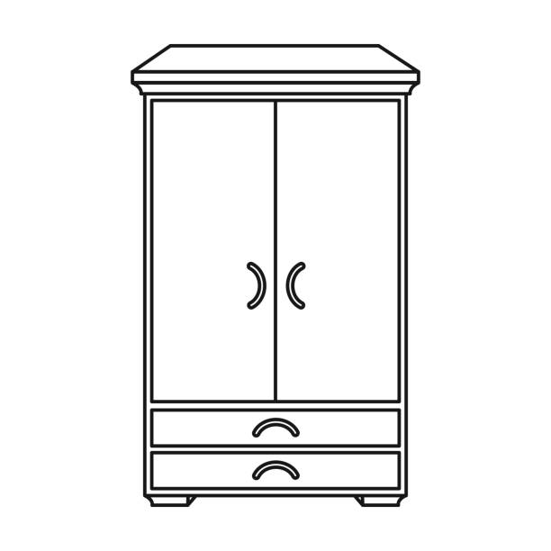 Wardrobe Clipart Black And White Open Empty Icon Clip Art Vector Images Ilrations