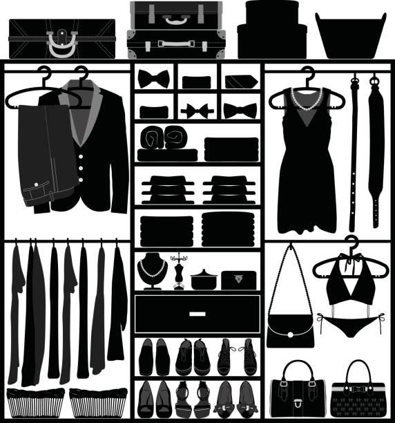 schrank kleiderschrank schrank mit accessoires für mann und frau fashion wear silhouette vektor - schrankkorb stock-grafiken, -clipart, -cartoons und -symbole