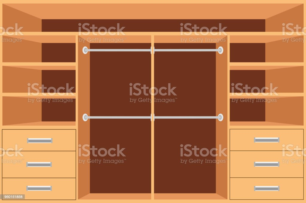Closet Wardrobe With Shelves And Drawers Empty Cupboard Furniture