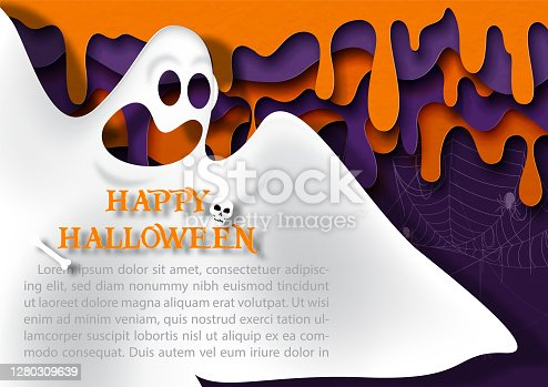 istock Closeup and crop scary ghost with Happy Halloween letters and example texts on evil bloods drop drown in paper cut style and black background. All in vector design. 1280309639