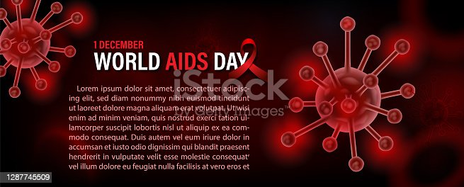 istock Closeup and crop symbols of virus in neon red with 3d style of microscope view and red ribbon, the day and name of event, example texts on blurred bloods cells and red background. 1287745509