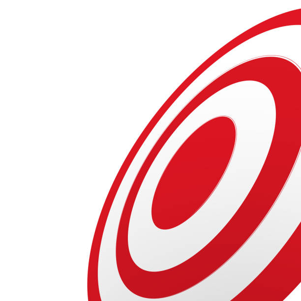 Close-up and from one side view of red round target isolated on white background Close-up and from one side view of red round target isolated on white background sports target stock illustrations