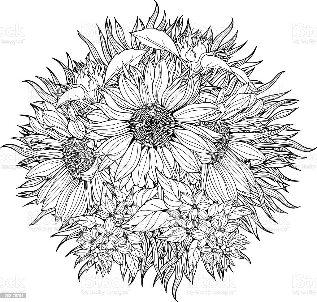 Close-up bunch of sunflowers. vector art illustration