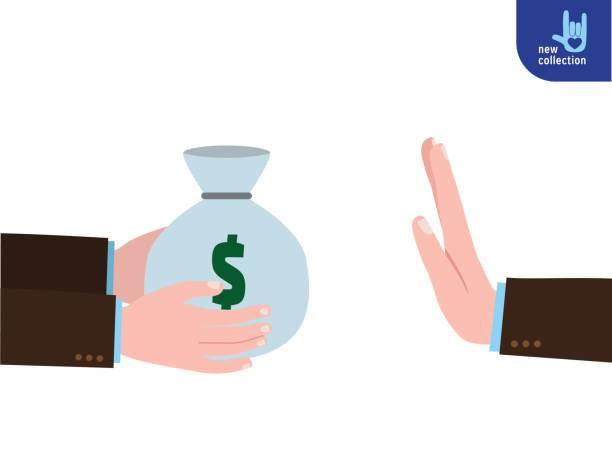 Closeup Businessman holding bag of money in hand. Hand gesture rejecting the proposal. Offering bribe concept. Rejection. Corruption. Vector flat cartoon design illustration. Isolated on white background. Closeup Businessman holding bag of money in hand. bribing stock illustrations