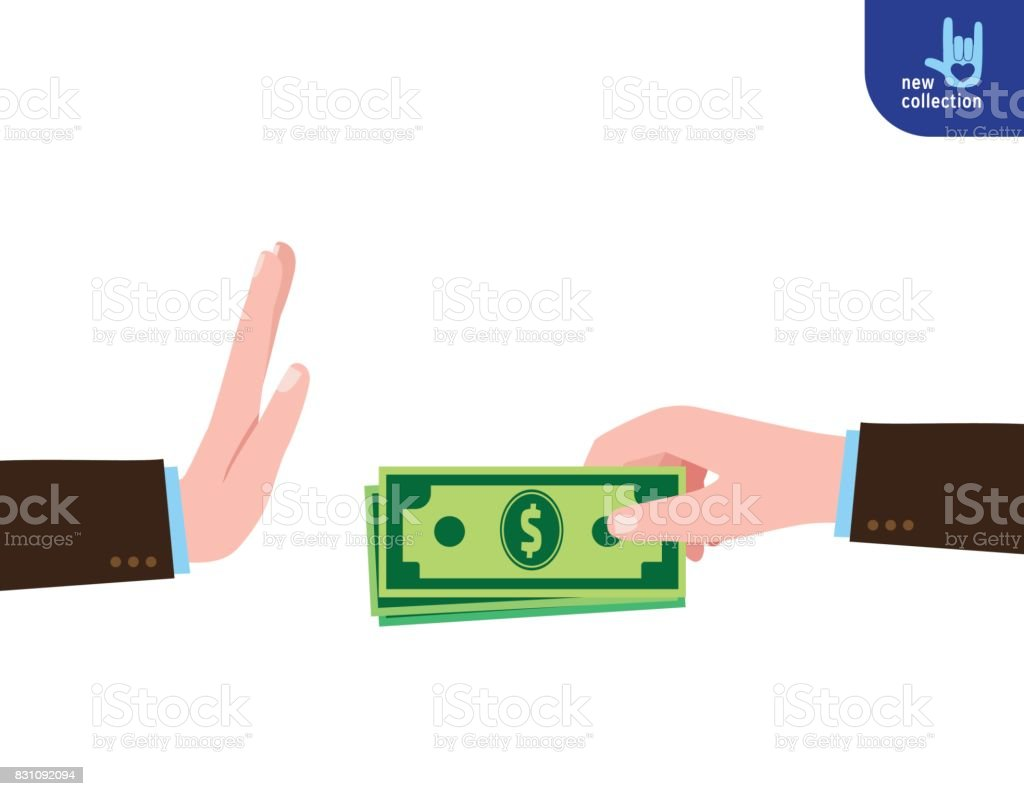 Closeup. Businessman holding money in hand offering bribe. Symbol of Refuse cash. Vector flat cartoon design illustration. Corruption concept. Isolated on white background. vector art illustration