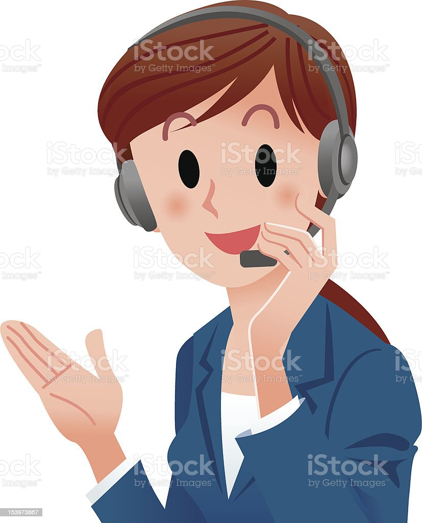 Close-up cute support phone operator smiling in suit vector art illustration