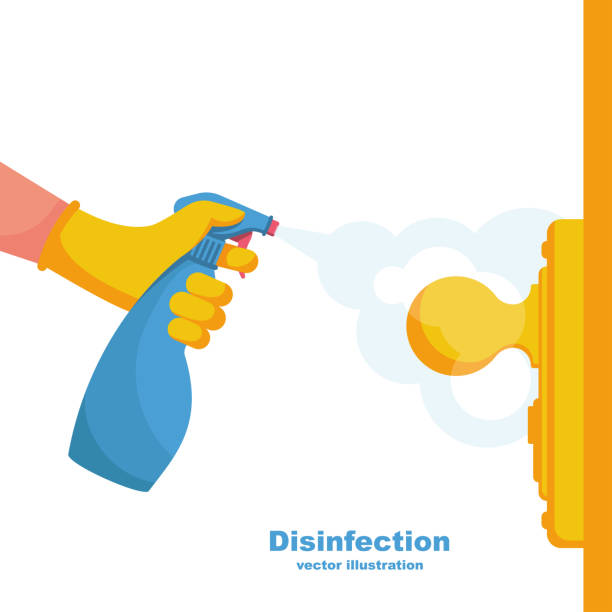 Close-up disinfection of door handles vector Close-up disinfection of door handles. Spraying disinfectant alcohol to the handle of a door. Vector illustration flat design. Prevention concept. Controlling the epidemic of coronavirus. handle stock illustrations