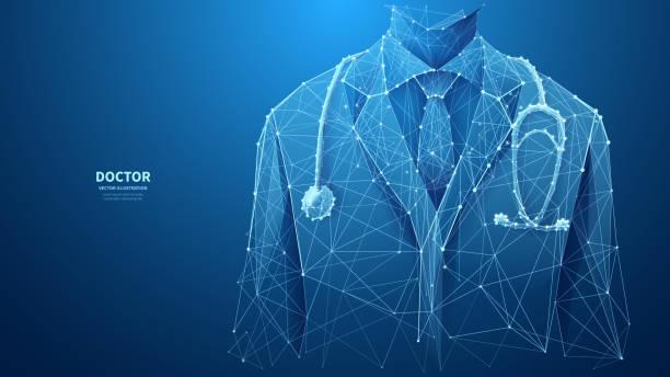 Closeup Arzt auf blauem Hintergrund – Vektorgrafik