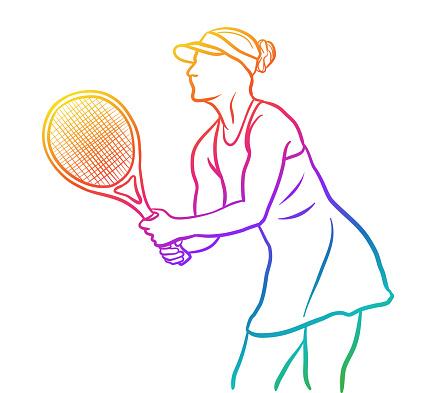 Closeup Female Tennis Player Rainbow