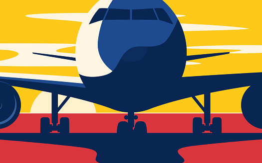 Closeup. Flat style vector illustration of the airliner at sunset at the airport.