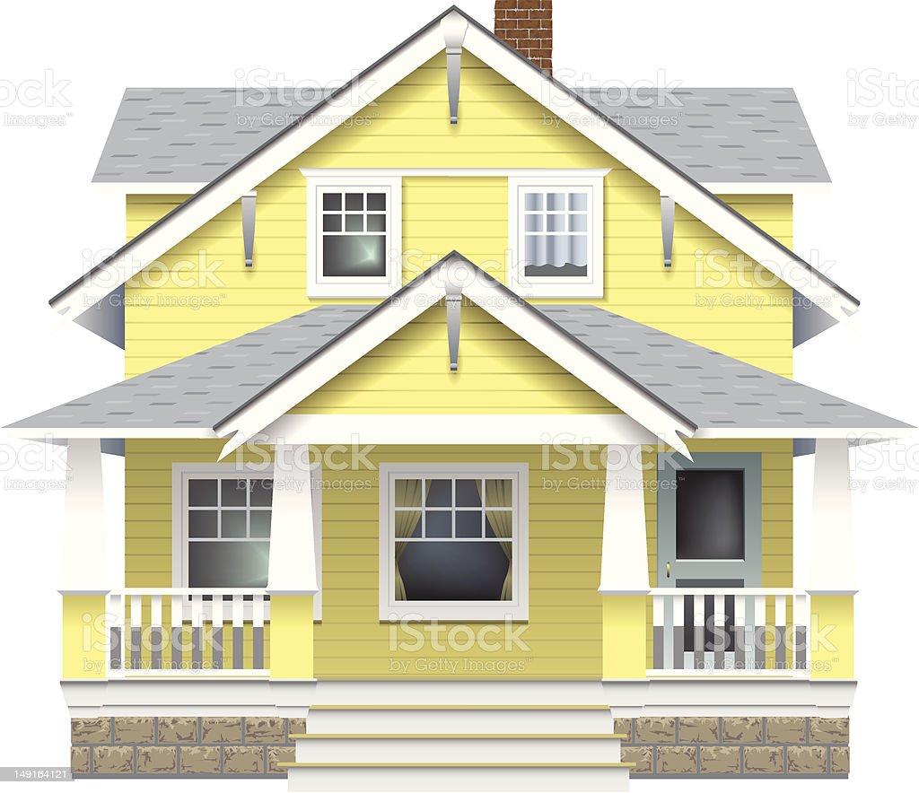 Close-up illustration of a modern farmhouse vector art illustration