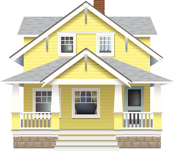 Close-up illustration of a modern farmhouse A classic farmhouse style home.  porch stock illustrations