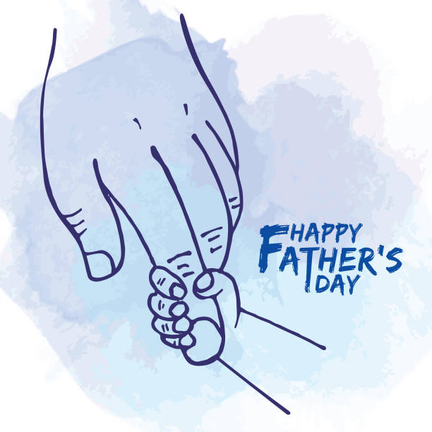 Close-up little child's hand holding daddy's fingers Happy Father's day. Father's hand holding newborn baby fingers in line art style on blue watercolor background. Close-up little child's hand holding daddy's fingers. fathers day stock illustrations