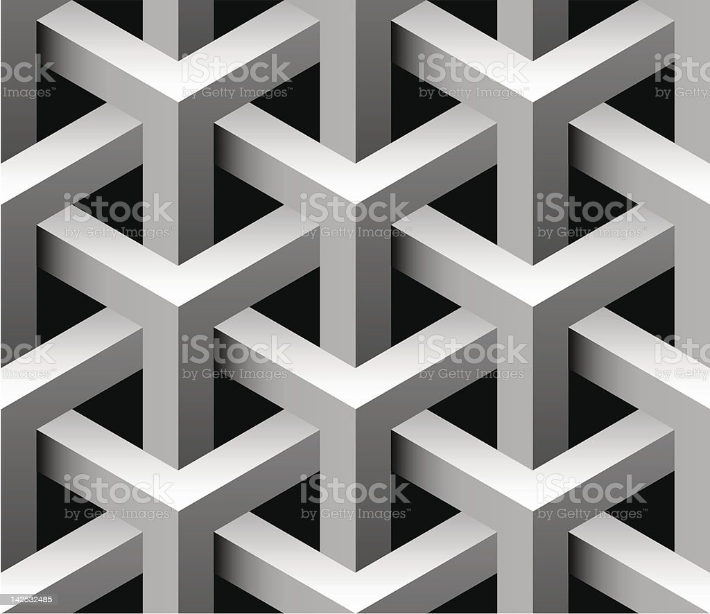 Close-up of a 3D seamless pattern in gray vector art illustration