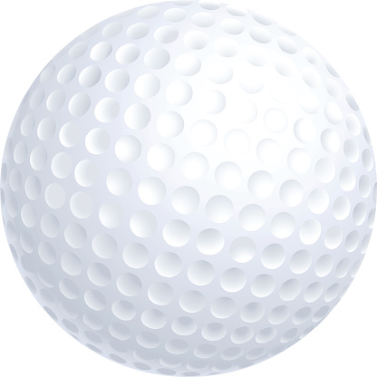 Close-up of a golf ball isolated on white background