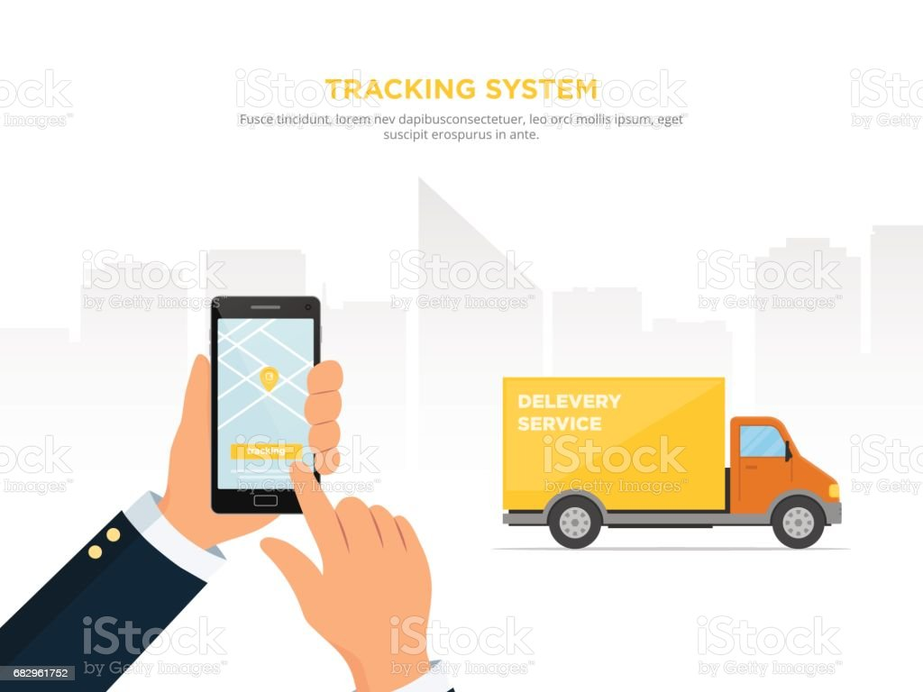 Close-up of a person's hand holds smartphone for tracking delivery. Tracking system. Mobile App. vector art illustration