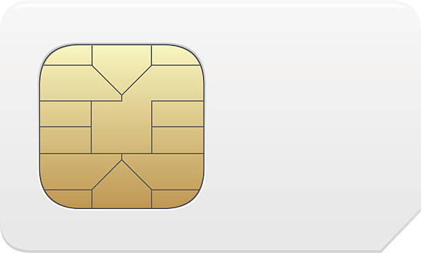 Close-up of a vector SIM card in gold and white sim card vector illustration isolated on white background computer chip stock illustrations