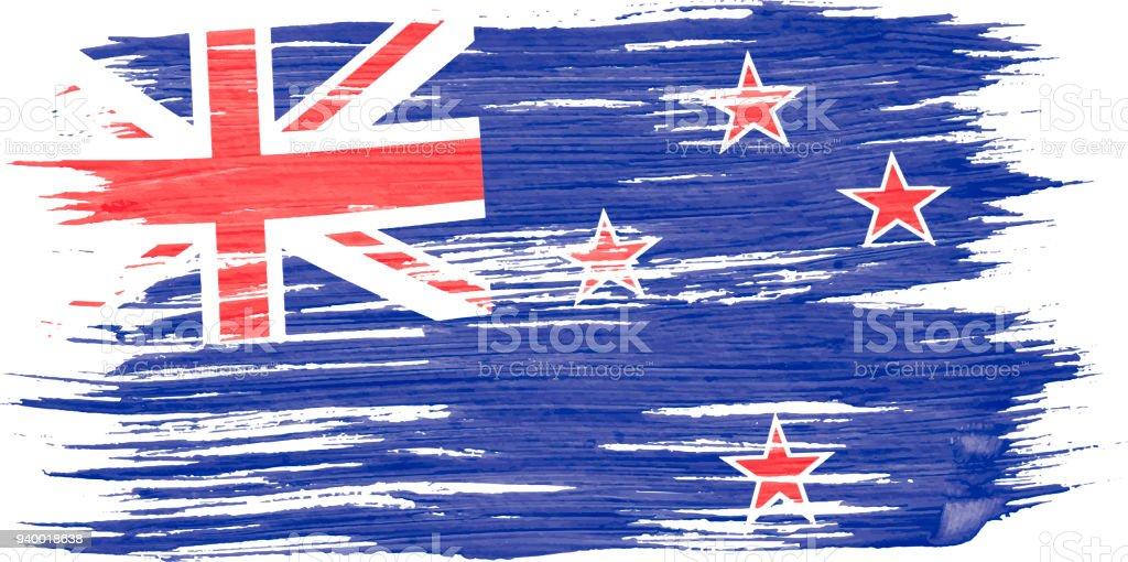 Nahaufnahme Der Kunst Pinsel Aquarell Neuseeland Fahne In Den Wind ...
