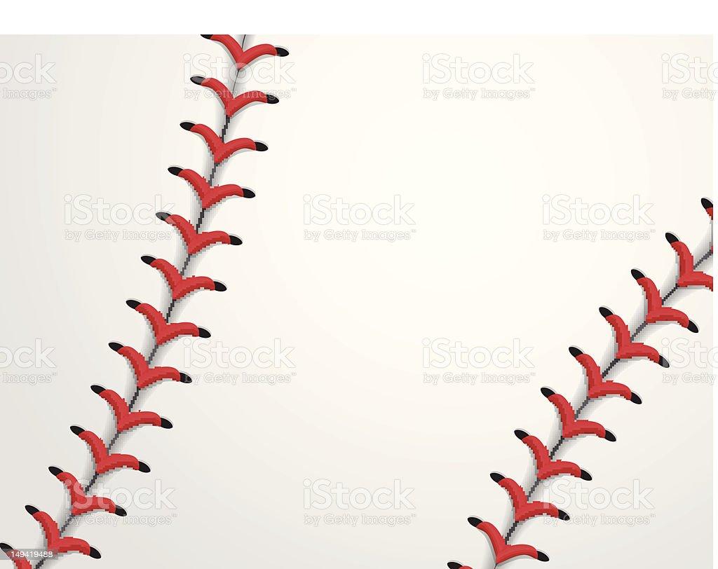 Close-up of baseball seams background vector art illustration