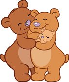 A Mommy and Daddy bear hug eachother and their baby bear.