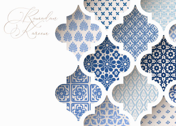 illustrazioni stock, clip art, cartoni animati e icone di tendenza di close-up of blue ornamental arabic tiles, patterns through white mosque window. greeting card, invitation for muslim holiday ramadan kareem. vector illustration bacground, web banner, modern design. - arabia