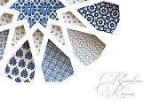 Close-up of blue ornamental Morroccan tiles through white arab star shape pattern. Greeting card, invitation for Muslim holiday Ramadan Kareem. Vector illustration bacground, web banner, modern design.