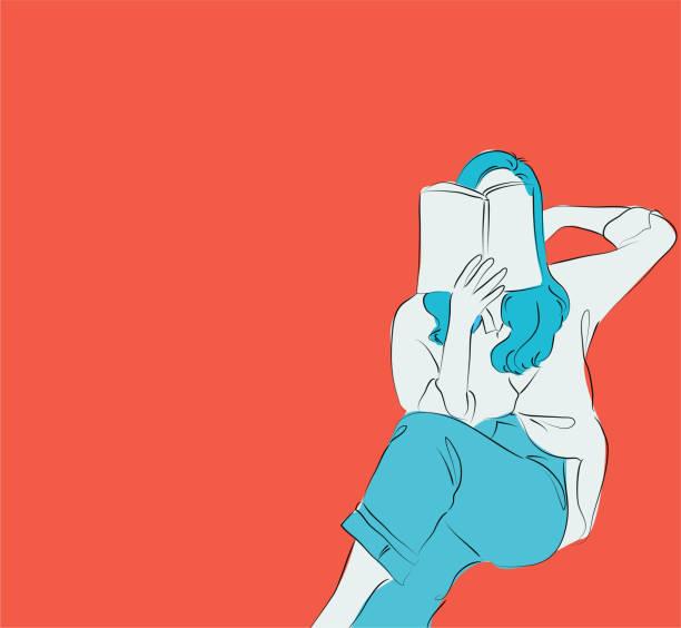 ilustrações, clipart, desenhos animados e ícones de close-up das mãos fêmeas que prendem o livro no fundo alaranjado, livro de leitura da menina, ilustração lisa do vetor do estilo - reading