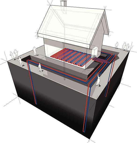 bildbanksillustrationer, clip art samt tecknat material och ikoner med closeup of geothermal heat pump for underfloor heating - värmepump