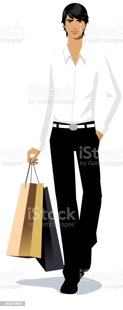 Close-up of man holding shopping bag vector art illustration