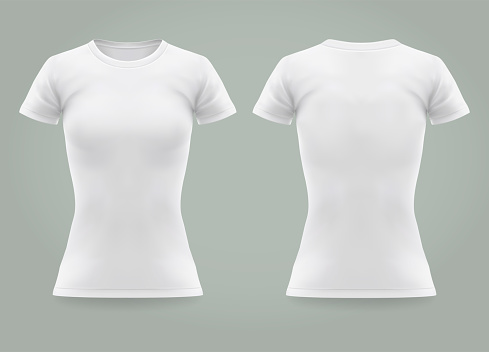 Closeup of realistic woman or 3d women t-shirt