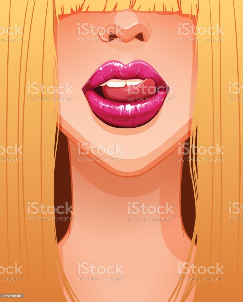 Close-up of sexy blonde woman's mouth licking her beautiful pink lips vector art illustration