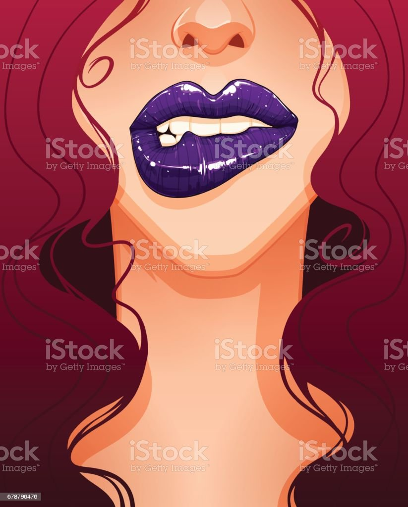 Close-up of sexy woman's face biting her lip. Beautiful full lips and purple lipstick. vector art illustration