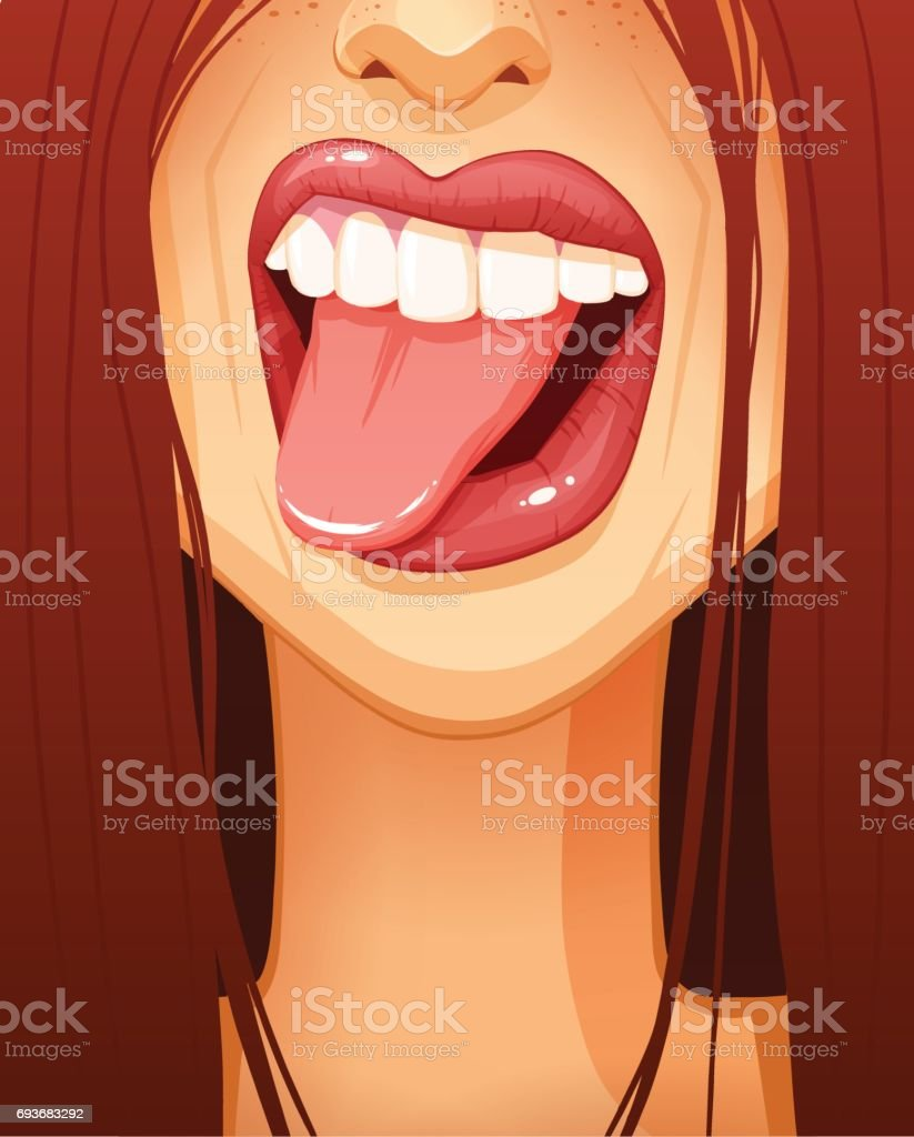 Close-up of sexy woman's mouth sticking her tongue out vector art illustration