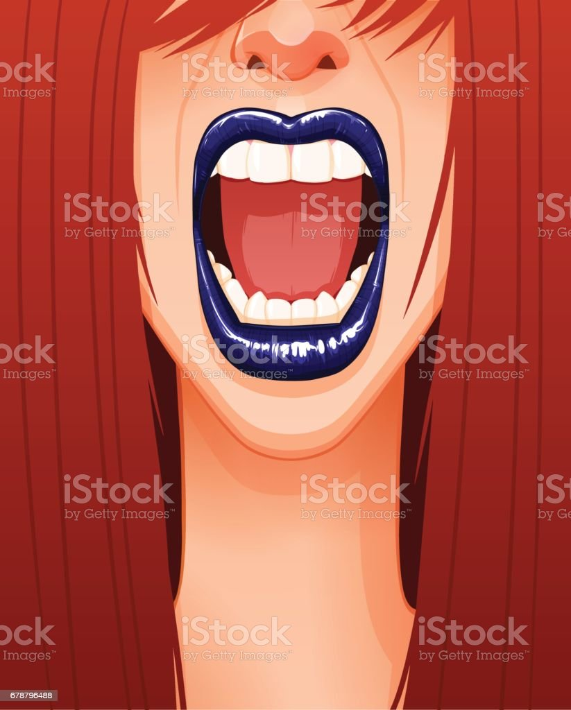 Close-up of sexy woman's screaming face with blue lips and opened mouth vector art illustration