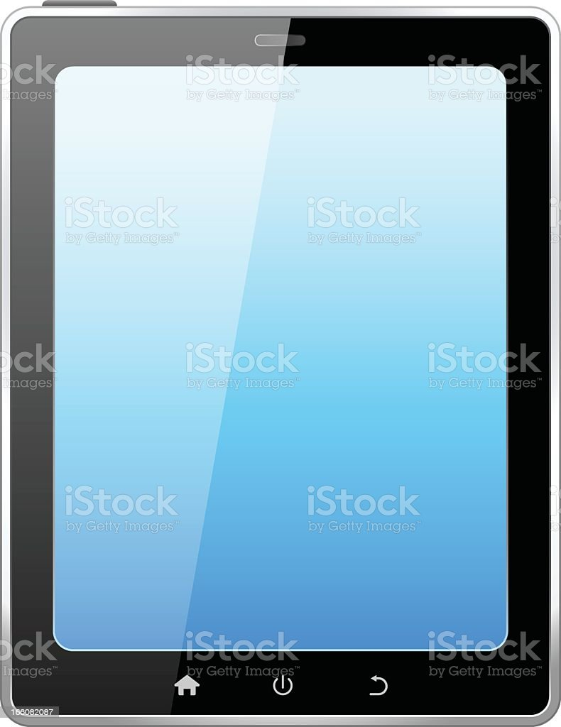 Close-up of tablet PC with blank light blue screen royalty-free stock vector art