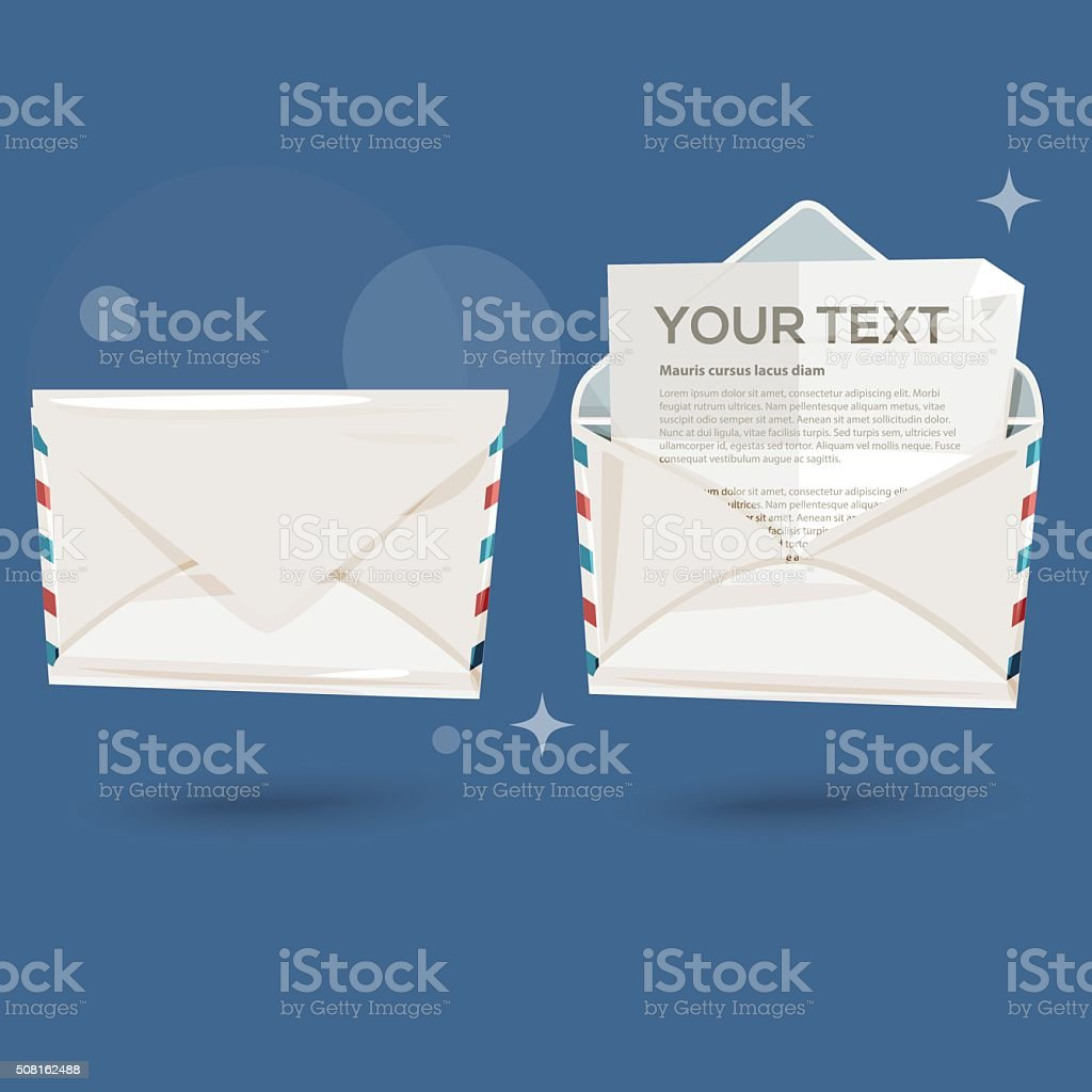 Close-up of two envelopes . close and open - vector vector art illustration