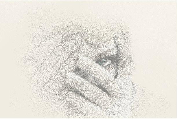 illustrazioni stock, clip art, cartoni animati e icone di tendenza di close-up di donna di sbirciare attraverso le dita - donna si nasconde