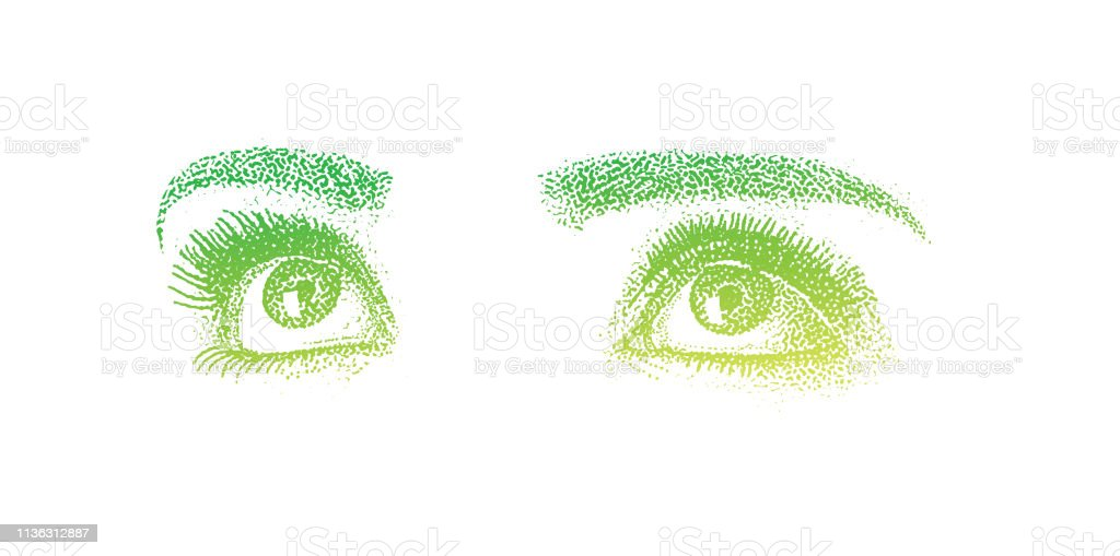 Close-up of woman's eyes vector art illustration